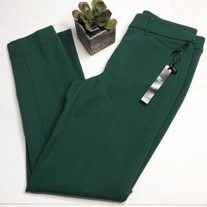 NWT WHBM hunter green ponte pants, slim ankle